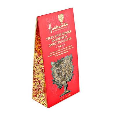 Fiery stem ginger enrobed in dark chocolate 100g